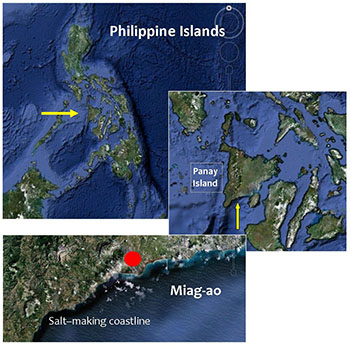 Fig. 1.  Map showing location of Miag-ao and the salt-making areas.