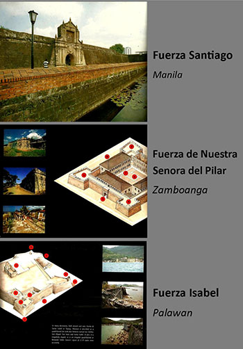 Examples of major Spanish era fortifications in the Philippines.