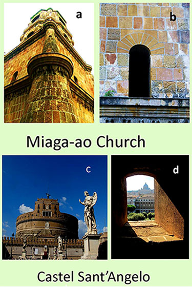 Fig. 5.  Comparison of the window of the Miag-ao Church tower (a,b) and the window (c, d) of the fortress in Rome (Castel Sant'Angelo)