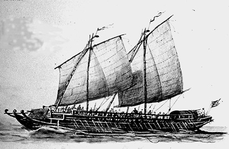 """An Iranun warship of the late 18th century called 'lanong' is at least 30 meters long and comprised three banks of oars under full sail. With large bamboo outriggers, the ship is propelled more than 190 rowers. Photo by James Francis Warren,In """"Pirates, Prostitutes and Pullers."""" 2009."""