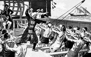 Galley slaves on an Arab pirate ship.