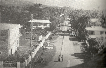 Mat-y Road seen from the belfry of Miag-ao Church. (ca. 1950).
