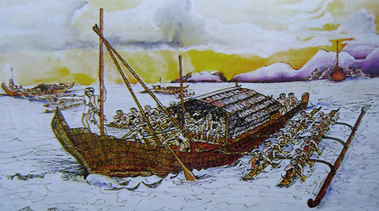 The balanghai. Watercolor painting by Noe Trayvilla in 1998. From the JR Matias Collection, New York.