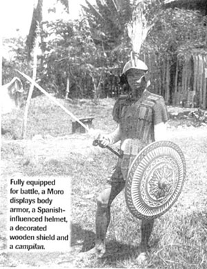Moro warrior in full armor. From: Military History, 2006, p62