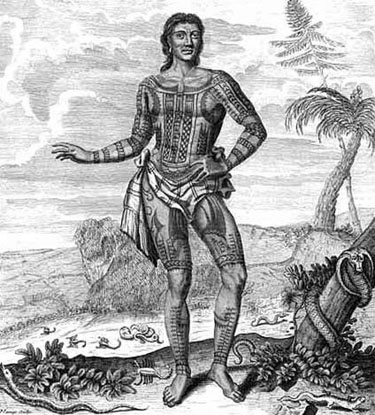 The 1697 engraving of a Pintado whom the Europeans dubbed 'Prince Giolo.' The Pintado was a slave purchased by the English privateer William Dampier. This engraving, though not likely accurate, shows the European concept of the Pintado warrior.