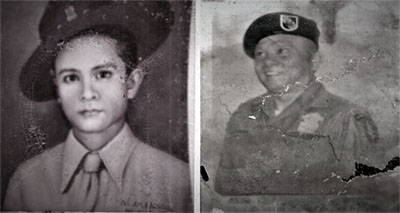 (left) Pedro M. Nacional as an army private in 1937 (26th Cavalry, Philippine Scouts) and (right) as sergeant major (US Army)
